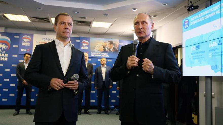 El partido de Putin obtiene el 54,21 % de los votos con el 90 % escrutado
