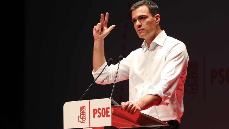 Pedro Sánchez en su mitin en la Escuela de Invierno del PSOE de Las Palmas de Gran Canaria