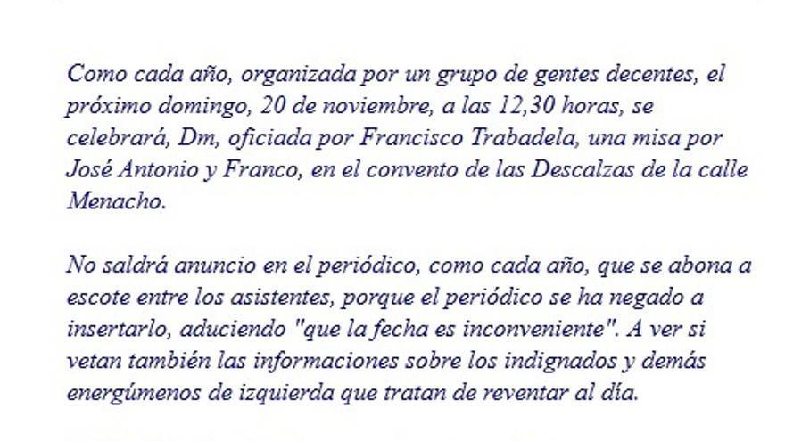 Invitación a a misa en la Iglesia de las Descalzas de Badajoz