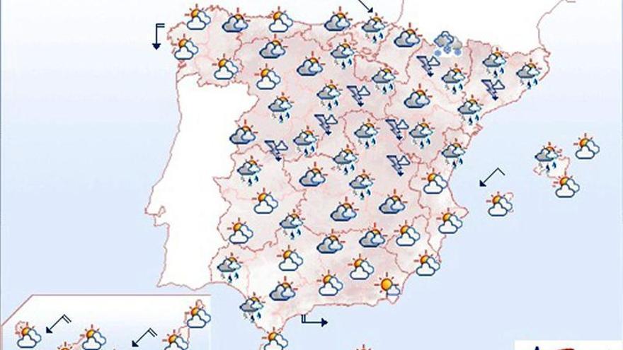Nubes y chubascos, más intensos en Cataluña y nieve en la cota 1.300
