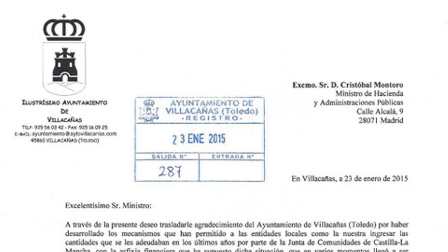 Carta agradecimiento Montoro Villacañas