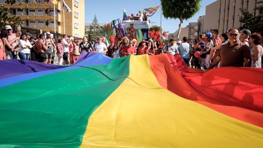 El desfile del Gay Pride durante el pasado 14 de mayo, que tuvo lugar en Maspalomas en la zona turística de playa del Inglés (Gran Canaria), en el que han participado el colectivo de Lesbianas, Gays, Transexuales y Bisexuales (LGTB) de 82 países. EFE/Ángel Medina G.