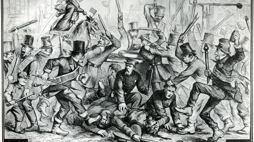 Una viñeta de Harper's Weekly de 1867 muestra un enfrentamiento entre policías e inmigrantes irlandeses en la que estos últimos aparecen dibujados con aspecto simiesco.