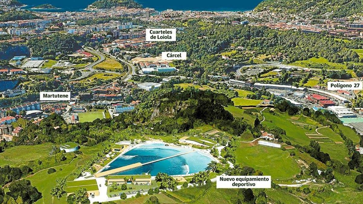Fotomontaje de la piscina artificial de olas en Donostia