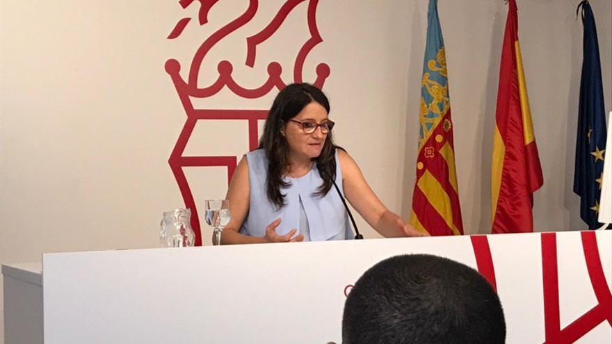 Mónica Oltra en la rueda de prensa del Consell.