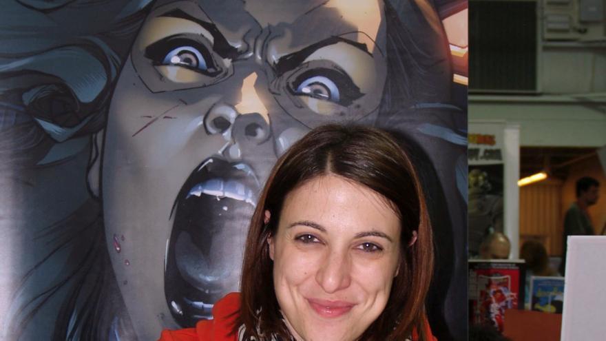 La artista Sara Pichelli durante una convención de cómics en Nueva York en 2014