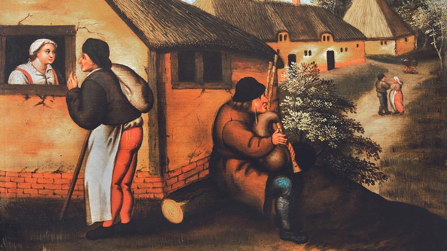 Gaitero y caminante en un pueblo, Pieter Brueghel el joven (ca. 1580- 1590), cortesía Arthemisia España