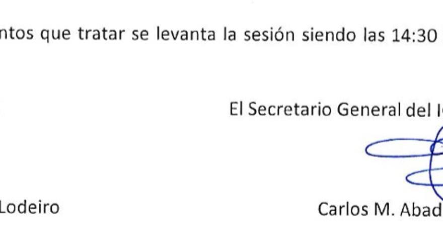 Firma del nuevo director del IGME, Francisco González Lodeiro.