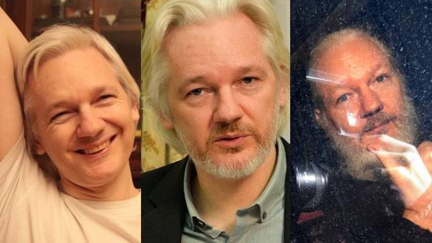 Fotografías de archivo de 2017, 2018 y 2019 (de izquierda a derecha) de Julian Assange.