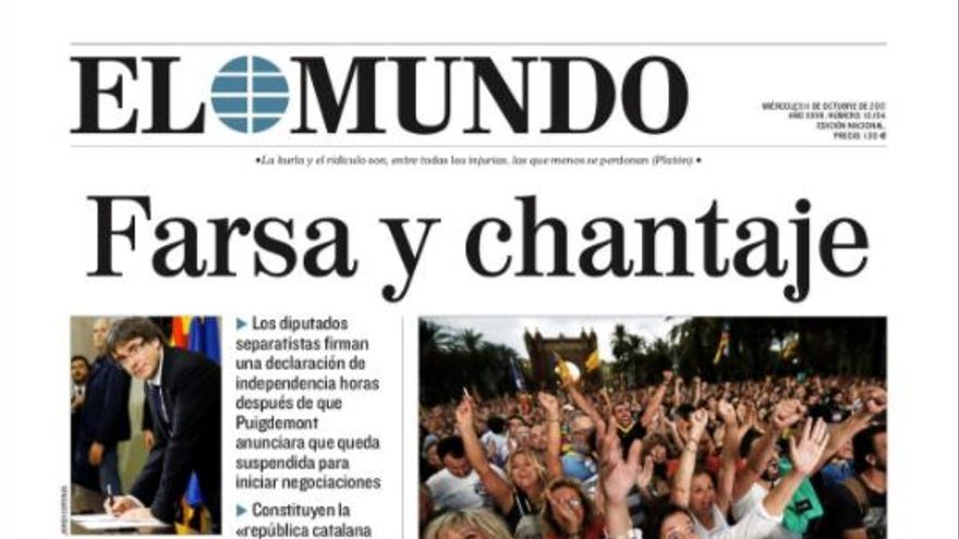 La portada de El Mundo del 11 de octubre