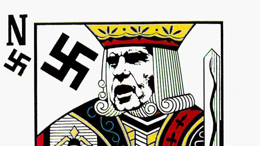 [Naipe con las caras de Nixon y Hitler] - Luis Álvarez. OCLAE. Año 1971