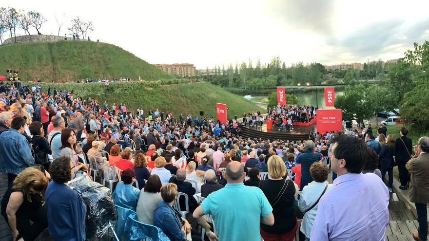El parque de Cabecera ha acogido el mitin de Susana Díaz en Valencia