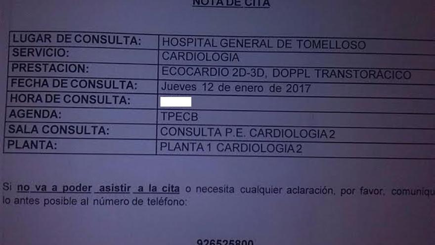 Cita médica para 2017 en el hospital de Tomelloso (Ciudad Real)