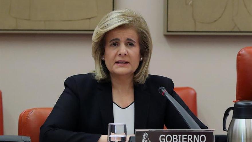 La ministra de Empleo, Fátima Báñez, este miércoles en el Congreso de los Diputados.