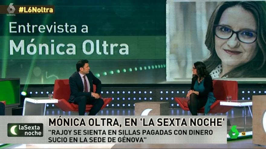La vicepresidenta del Consell, Mónica Oltra, durante su intervención en La Sexta Noche