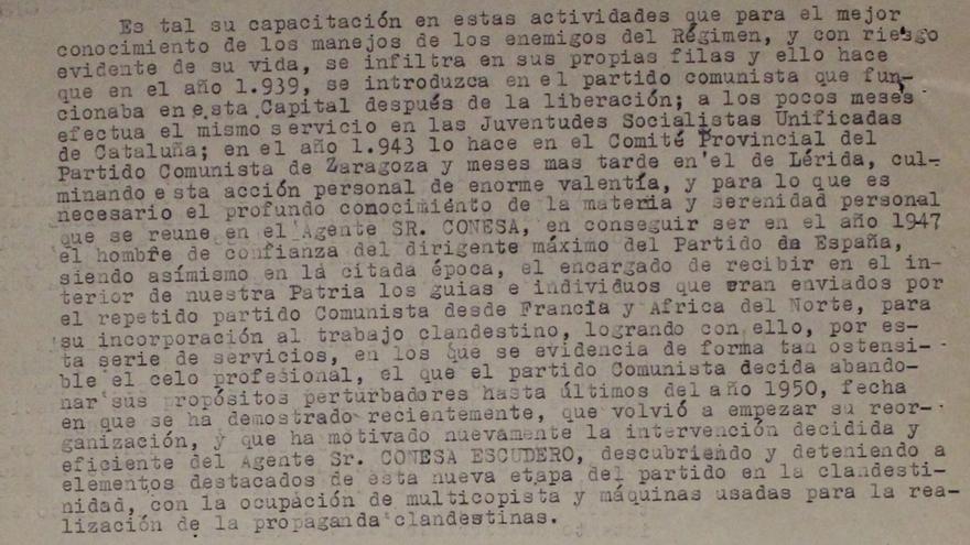 Fragmento de una carta del jefe superior de Policía de Madrid al ministro de Gobernación sobre las actividades de Conesa.