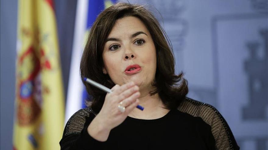 La vicepresidenta en funciones Soraya Sáenz de Santamaría