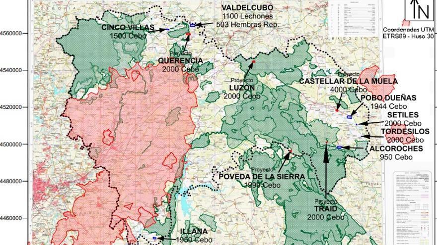 Mapa de macrogranjas en Guadalajara