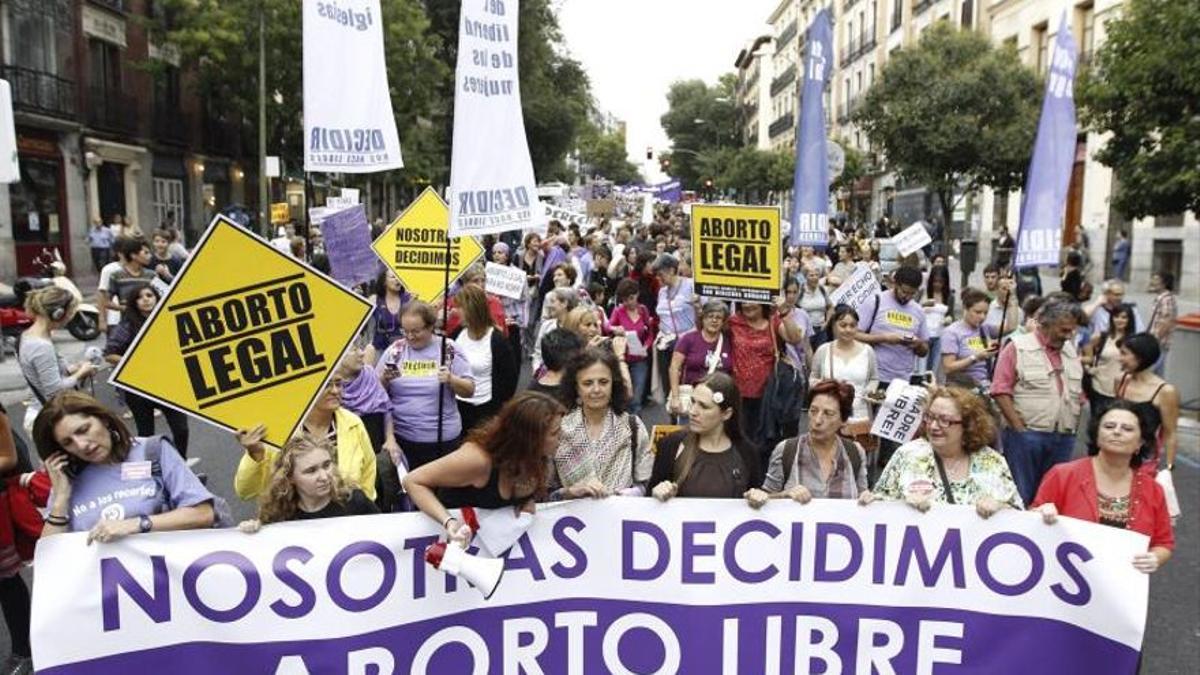 Manifestación por el derecho al aborto en Madrid.