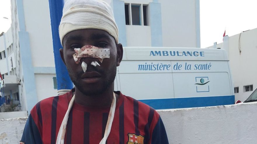 Uno de los migrantes que estuvo nueve horas en la valla de Ceuta y devuelto en caliente a Marruecos   FOTO: Helena Maleno, Ca-minando Fronteras