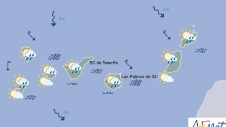 Mapa de la previsión meteorológica para el viernes 17 de marzo