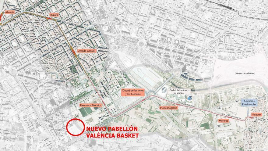 Plano de paradas de la futura línea 10 de Metrovalencia