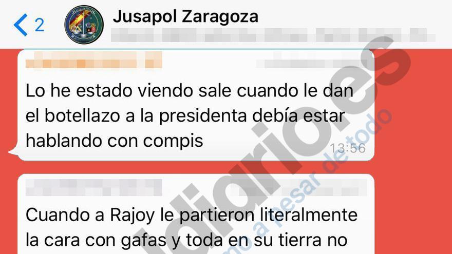 Justificación en el grupo Jusapol Zaragoza de la agresión a la presidenta de las Cortes de Aragón