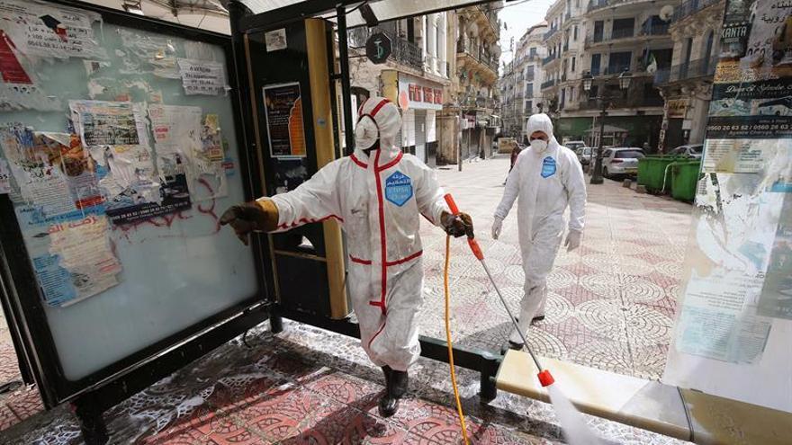 Trabajadores sanitarios argelinos desinfectan una parada de autobús en Argel, Argelia.