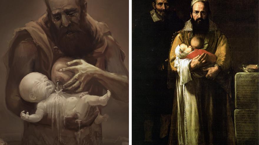 A la izquierda: el gigante Cesáreo. A la derecha: 'La mujer barbuda (Magdalena Ventura con su marido)', pintado por José de Ribera, «El Españoleto», en 1631
