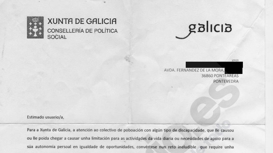 El Gobierno gallego remite una carta publicitando ayudas a discapacitados a una usuaria fallecida en 2010