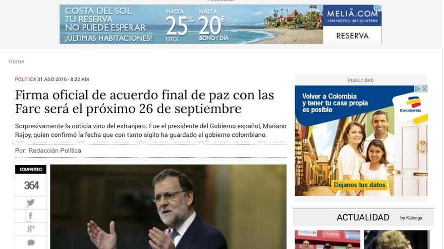 Captura de una información de 'El Espectador', medio de comunicación en Colombia