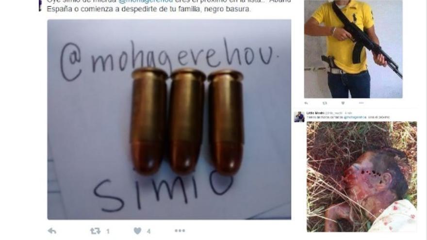 Amenazas de muerte en Twitter a Moha Gerehou tras colgar una foto de una protesta de legionarios.