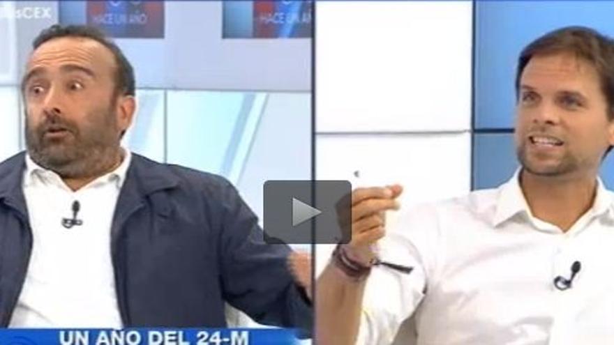 Miguel Ángel Morales (PSOE) a la izquierda, y Álvaro Jaén (Podemos) en el programa que se desveló el ofrecimiento