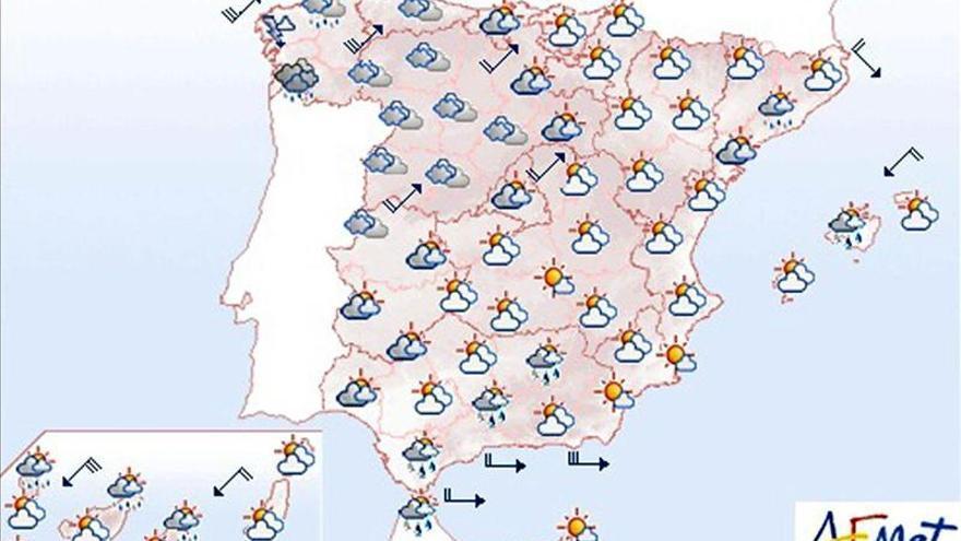 Lluvias en Galicia, en el Sistema Central y en parte de Andalucía