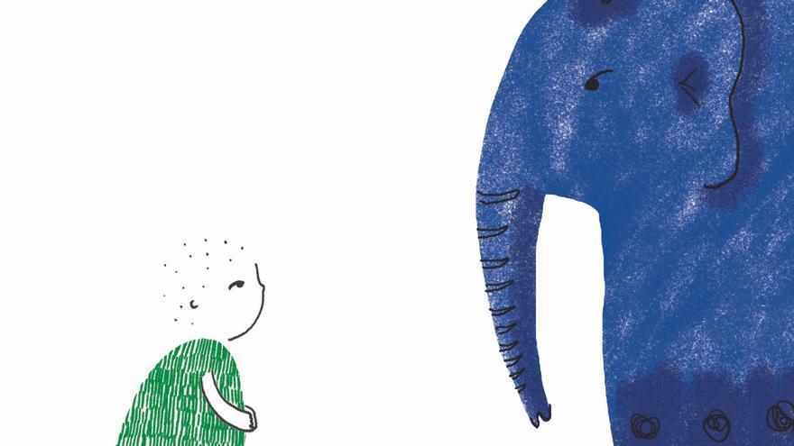 Página del libro '¿Qué le pasa a Amara?' ilustrado por Sara Fuentes.