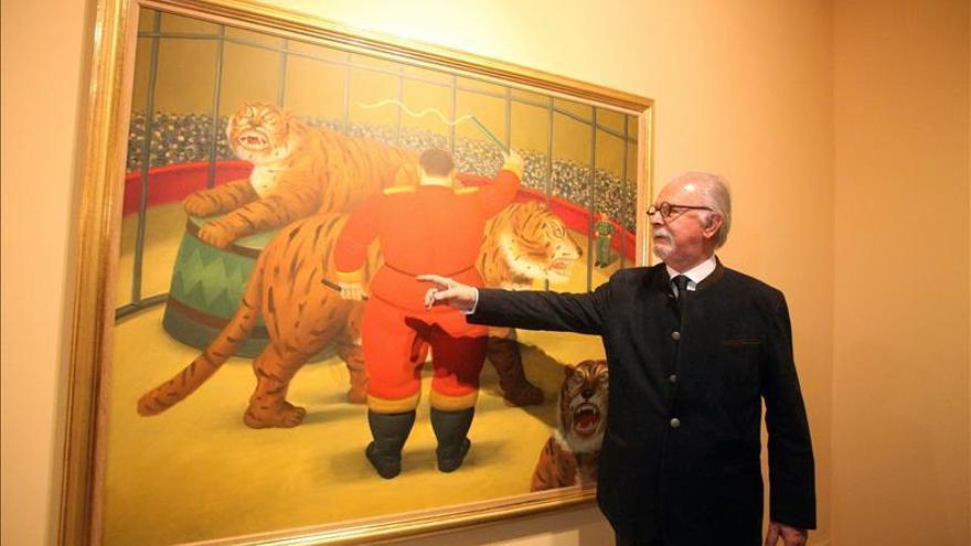 """El pintor Fernando Botero está """"feliz"""" de mostrar su """"Circo"""" en Medellín"""