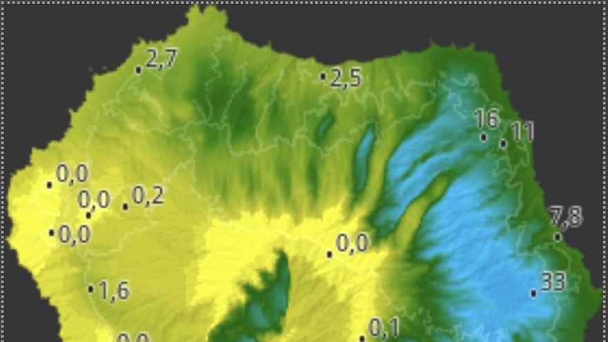 Mapa de HD Meteo La Palma de la lluvía caída, hasta las 15.10 horas de este sábado, en diversos puntos de la Isla.