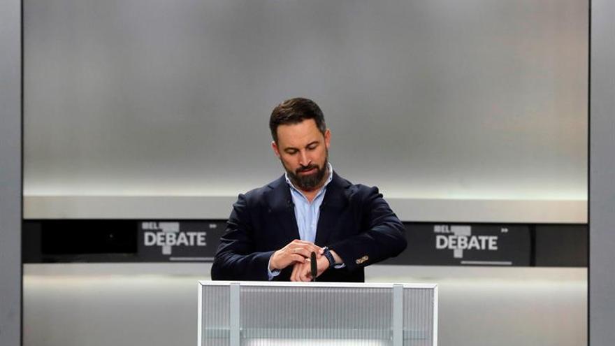 El candidato de VOX, Santiago Abascal, momentos antes del inicio del único debate electoral.