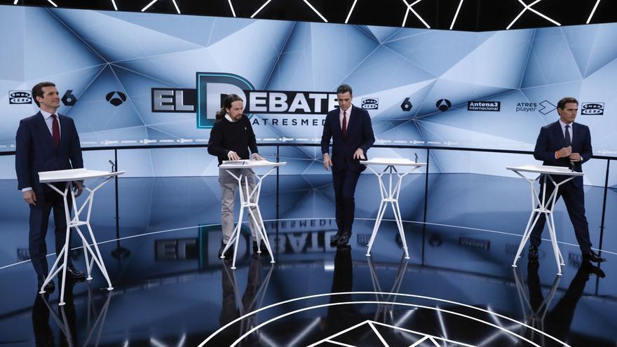 """Descripción : Politicians Pedro Sanchez, Pablo Casado, Pablo Iglesias and Albert Rivera during the """"23A: El debate decisivo"""" on the occasion of the General Elections of 28A in San Sebastian de los Reyes, Madrid on Tuesday , 23 April 2019."""