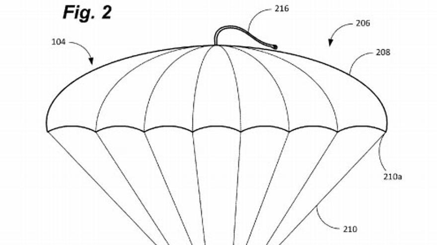 Uno de los paracaídas patentados por el gigante del comercio electrónico