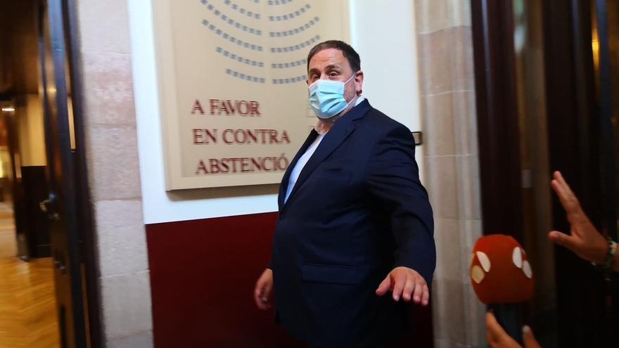 El líder de ERC, Oriol Junqueras, a 29 de junio de 2021 en el Parlament de Catalunya, tras la reunión del grupo parlamentario de ERC.