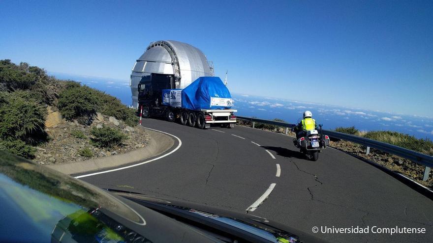 En la imagen, el Megara llegando, en un camión al Gran Telescopio Canarias Foto: Universidad Complutense.