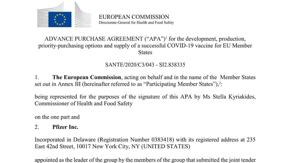 El contrato de la Comisión Europea con Pfizer.