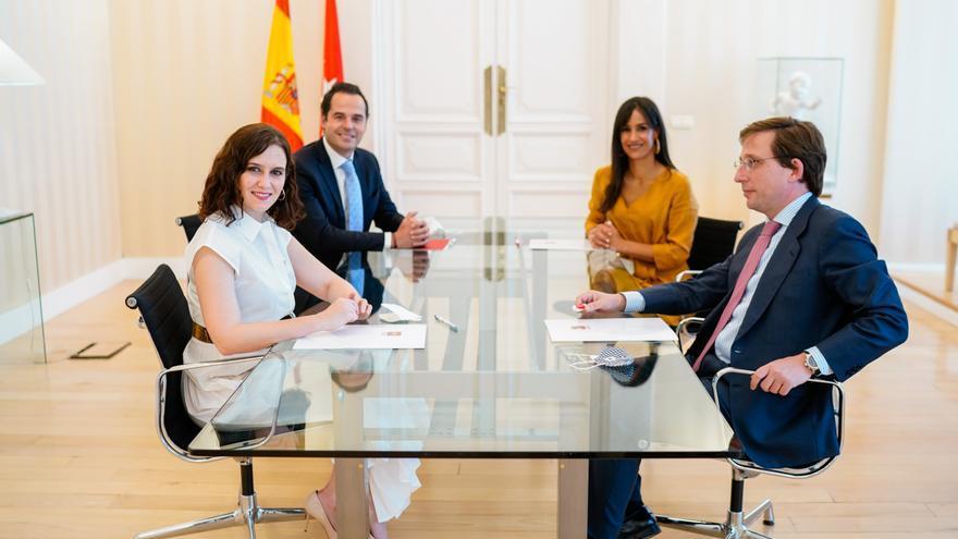 La presidenta de la Comunidad de Madrid, Isabel Díaz Ayuso, el alcalde de Madrid, José Luis Martínez-Almeida, el vicepresidente, Ignacio Aguado y la vicealcaldesa Begoña Villacís.