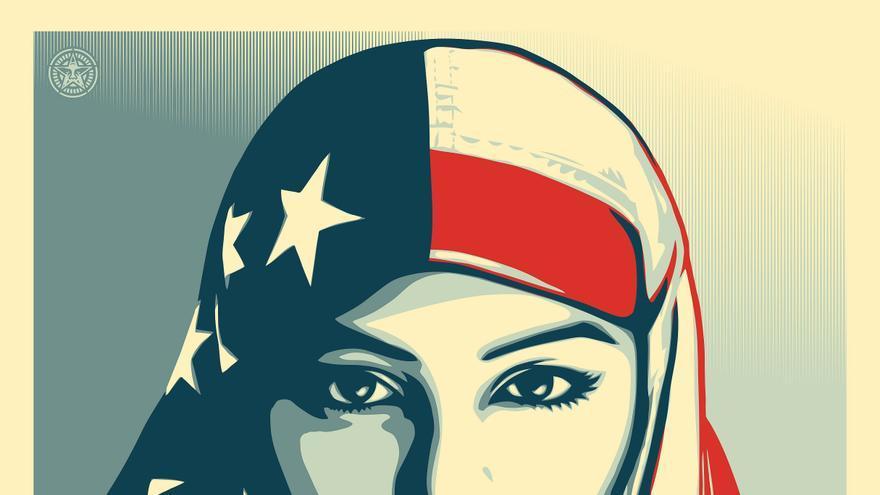 Ilustración de Shepard Fairey con la imagen de Munira Ahmed.