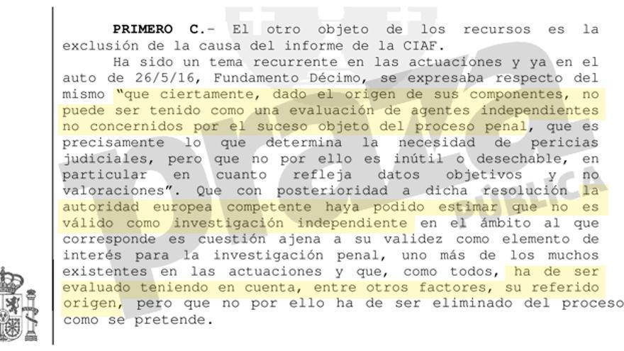 Fragmento del auto dictado por la Audiencia de A Coruña