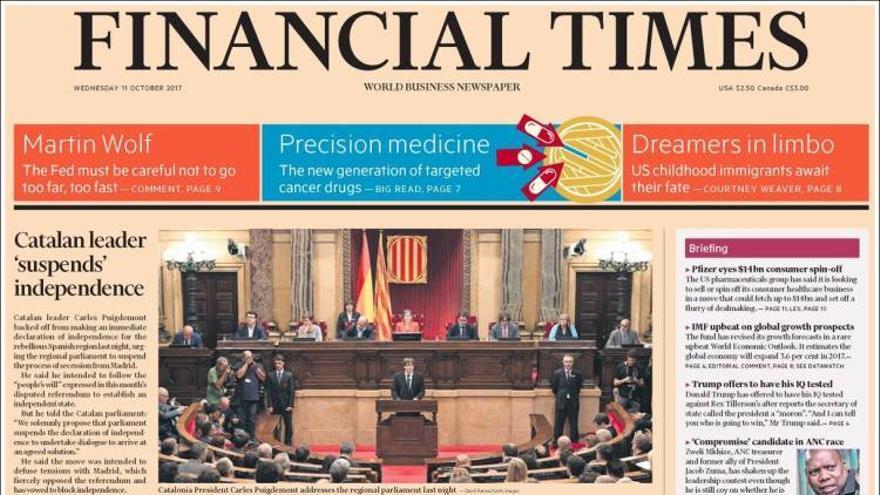 """La portada del Financial Times: """"El líder catalán 'suspende' la independencia"""""""