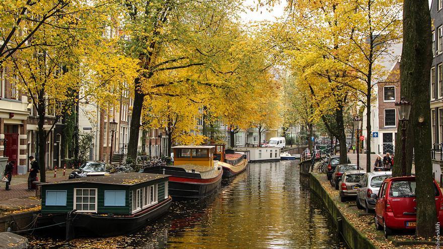 Canal en Jordaan, uno de los barrios del centro de Ámsterdam. Alejandro.