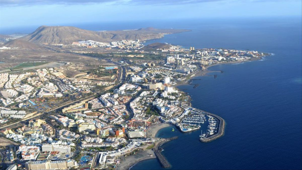 Zona hotelera del sur de Tenerife, en Canarias
