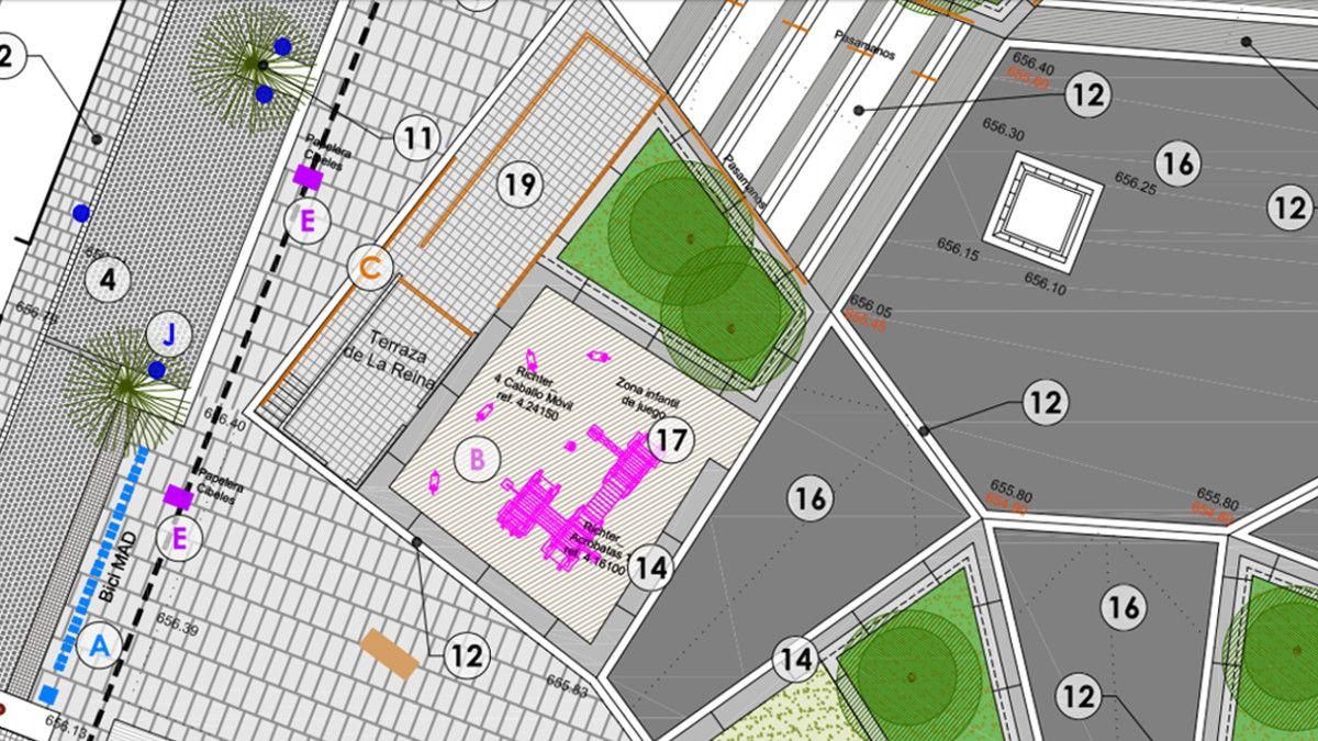 Nueva zona infantil y ubicación del kiosco-terraza en la Plaza de Pedro Zerolo | AYUNTAMIENTO DE MADRID